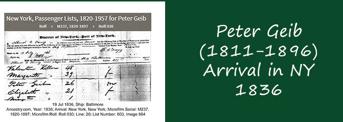 Peter Geib – Germany to Ohio – 1836